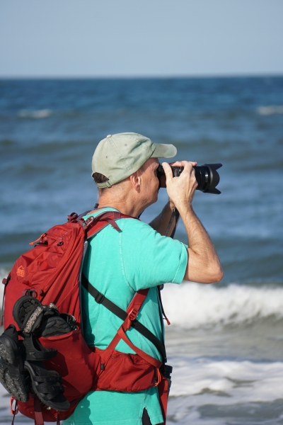 Frank Good at Little Talbot Island State Park Beach shooting video of birds