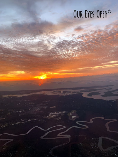Sunrise after taking off from Jacksonville, Florida taken from the seat of the airplane.