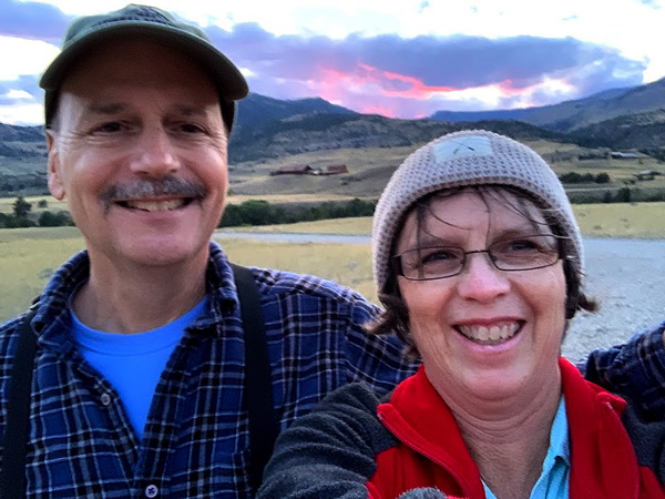 Frank & Lisa enjoying the sunset over the mountains near Emigrant, Montana