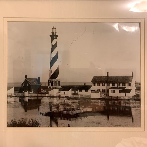 Framed sepia print of Cape Hatteras Lighthouse, North Carolina