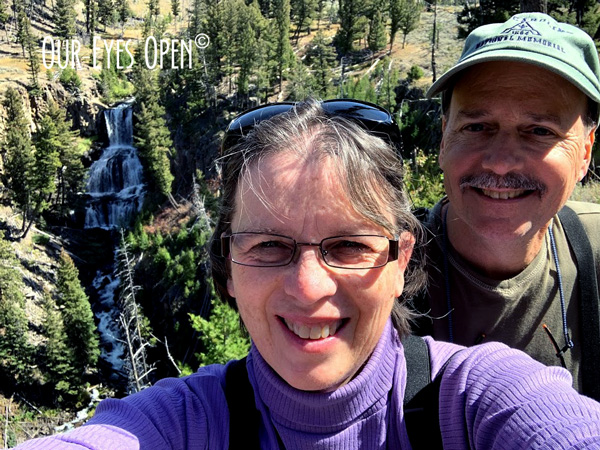 Selfie taken in front of Undine Falls in Yellowstone National Park, Wyoming.