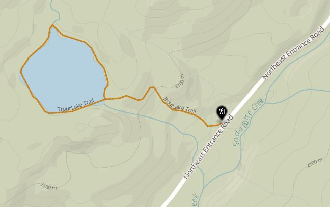 Map of hiking trail for Trout Lake, Yellowstone National Park