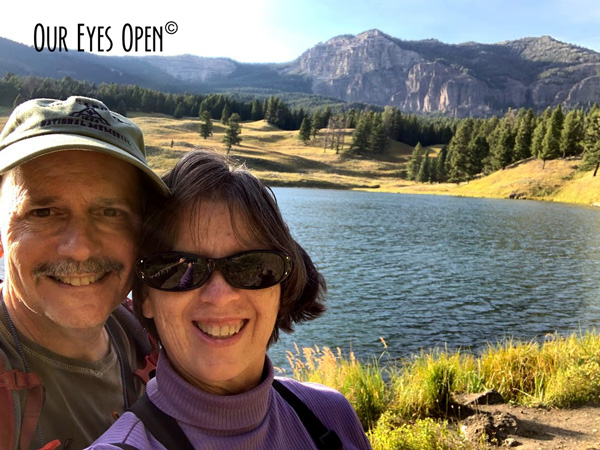 Selfie of Lisa and Frank with Trout Lake and Mountains in the beautiful backdrop.