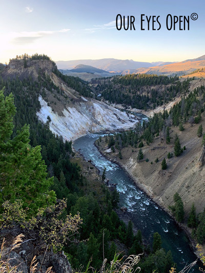 Grand Canyon of Yellowstone with Yellowstone River flowing with the rapids.