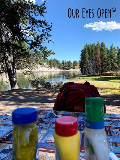Preparing for a picnic at the Otter Creek Picnic area along the Yellowstone River in Yellowstone National Park, Wyoming.