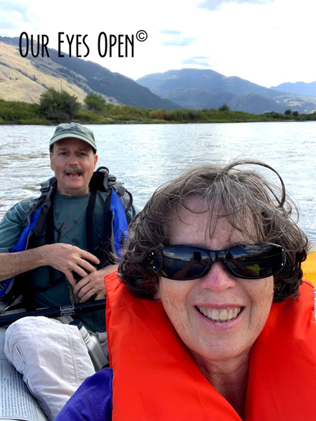 Frank & Lisa selfie on the Yellowstone River with the mountains in the background.