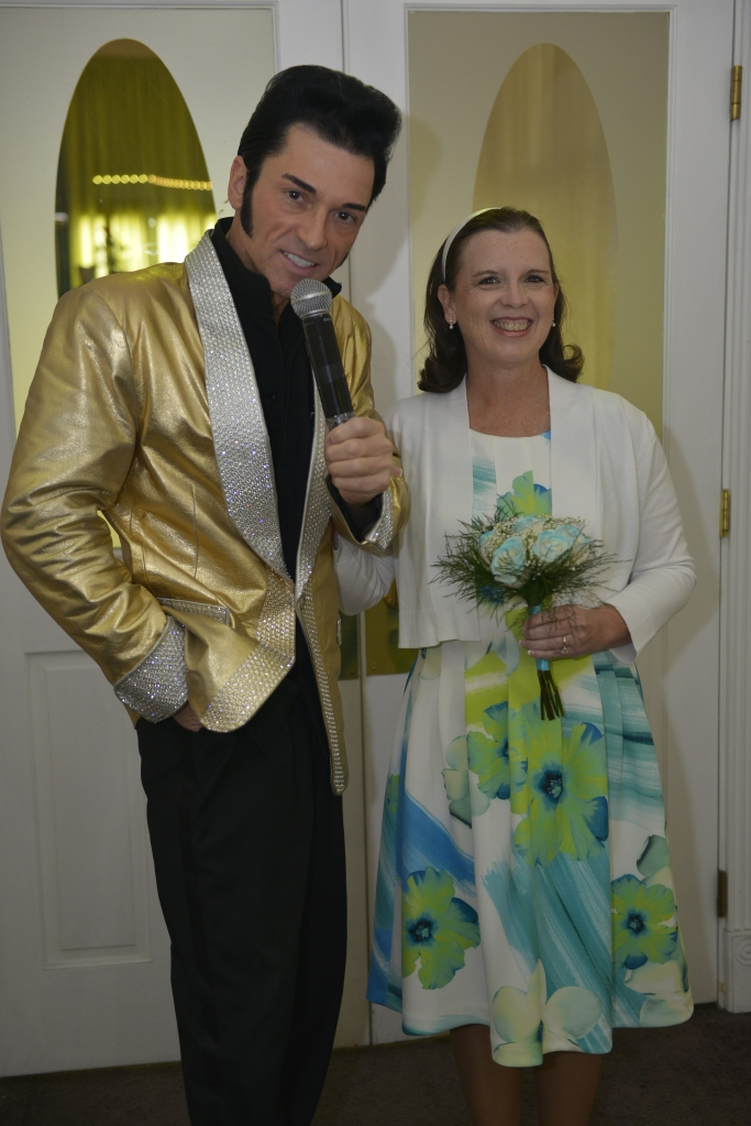 Elvis impersonator and me ready to walk down the isle.