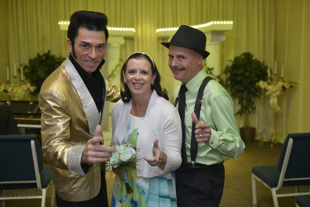 Elvis impersonator, me and Frank after the ceremony.