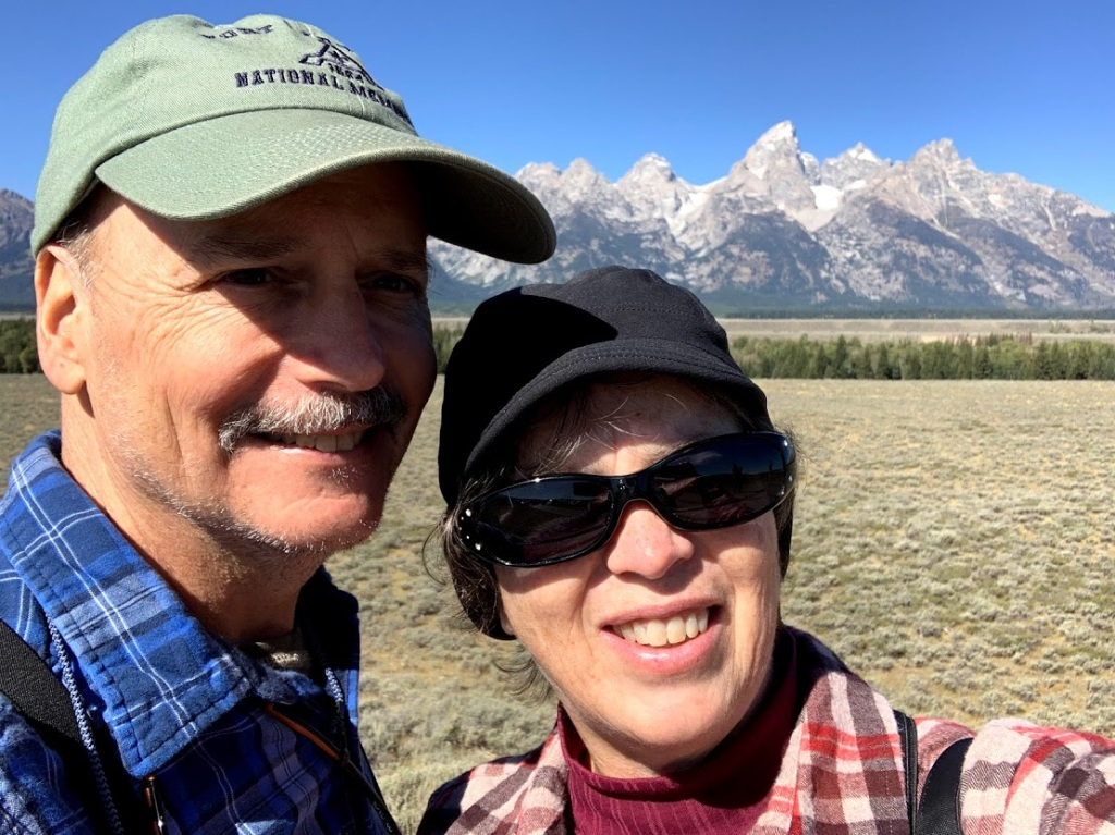 Frank and Lisa selfie with the beautiful Grand Teton Mountain Range in the background.