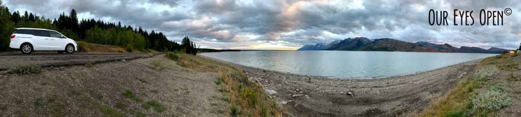 Panoramic sunset at Jackson Lake in Grand Tetons National Park, Wyoming.