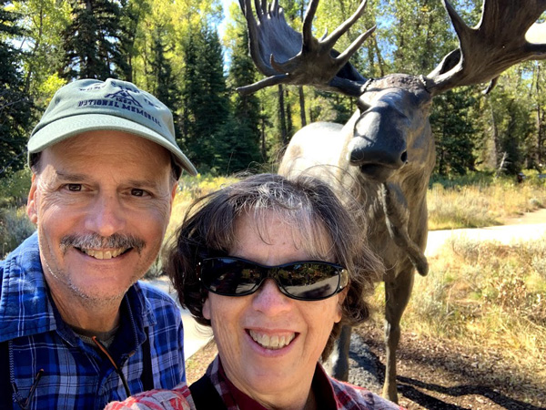Selfie with the moose statue outside the visitor center at Grand Teton National Park.