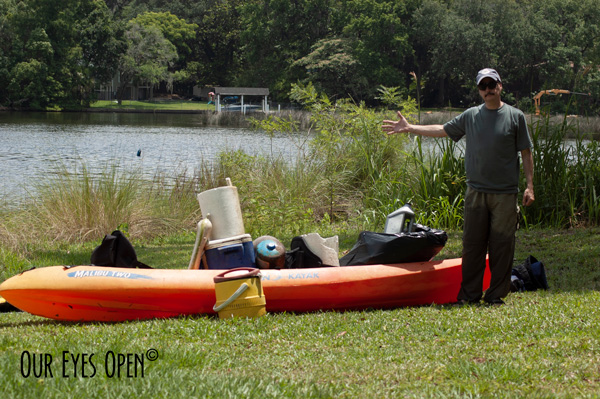 Frank showing all his trash possessions that he rescued from the St. Johns River.  Took more than 3/4 of the kayak space to bring it all in.