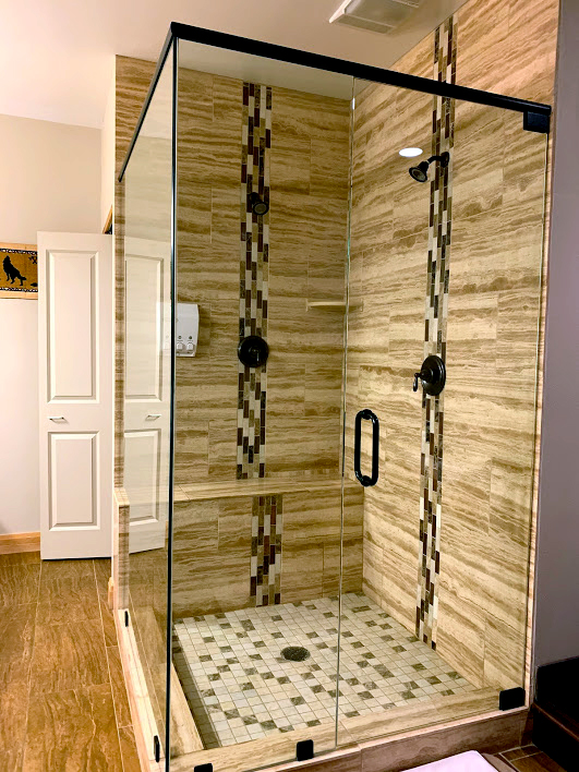 DreamCatchers Bed & Breakfast honeymoon suite stand up shower in Victor, Idaho.