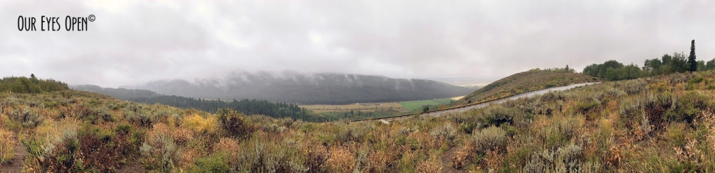 Panoramic of the Targhee Valley in Alta, Idaho on the backside of the Grand Teton mountain range.
