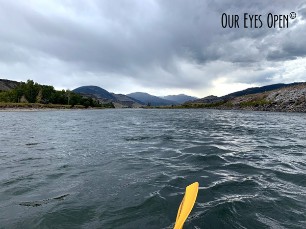 Looking towards the mountains on the Yellowstone River in Montana just as a storm is approaching.