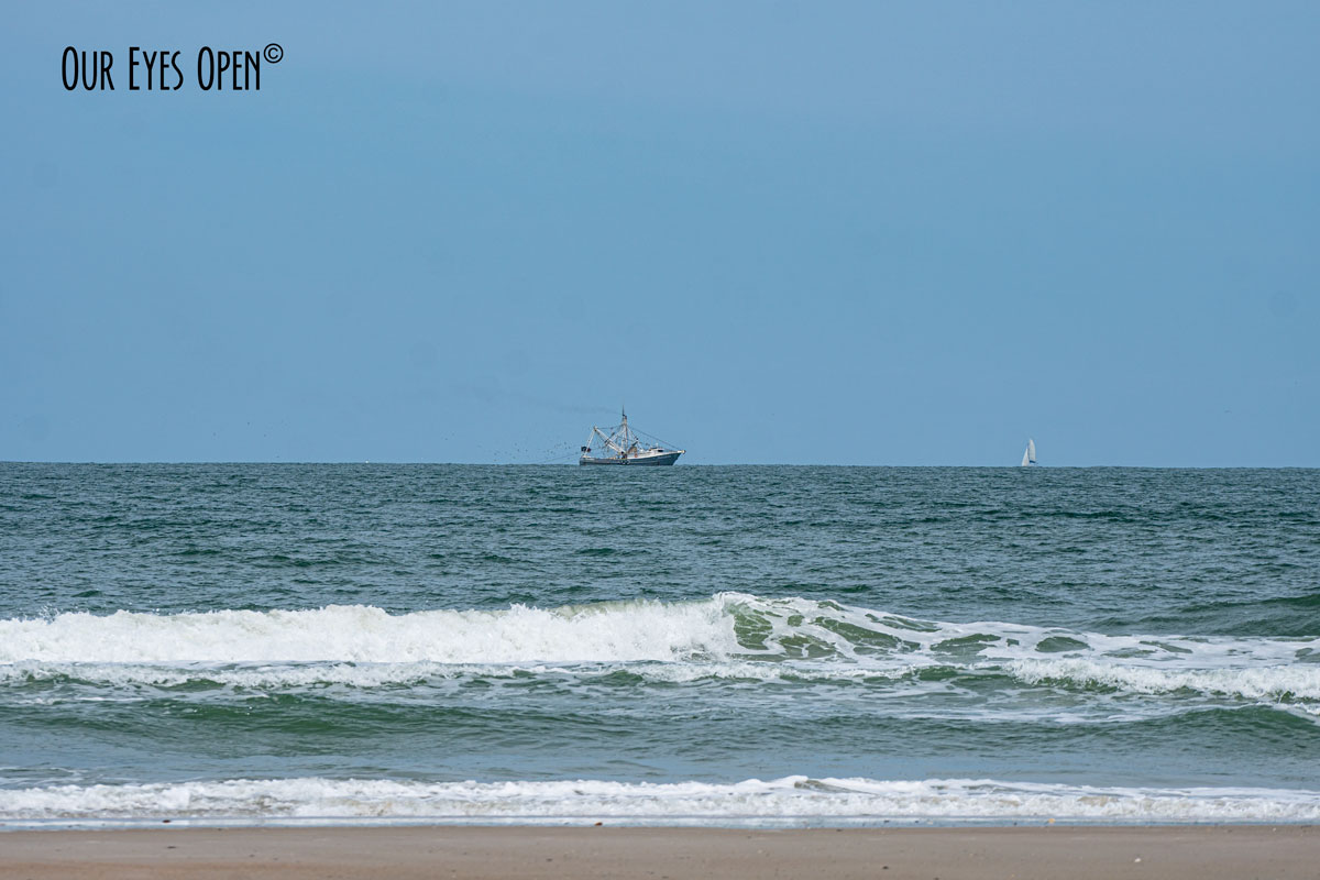 Looking out at the Atlantic Ocean at a Shrimp Boat from Little Talbot Island.
