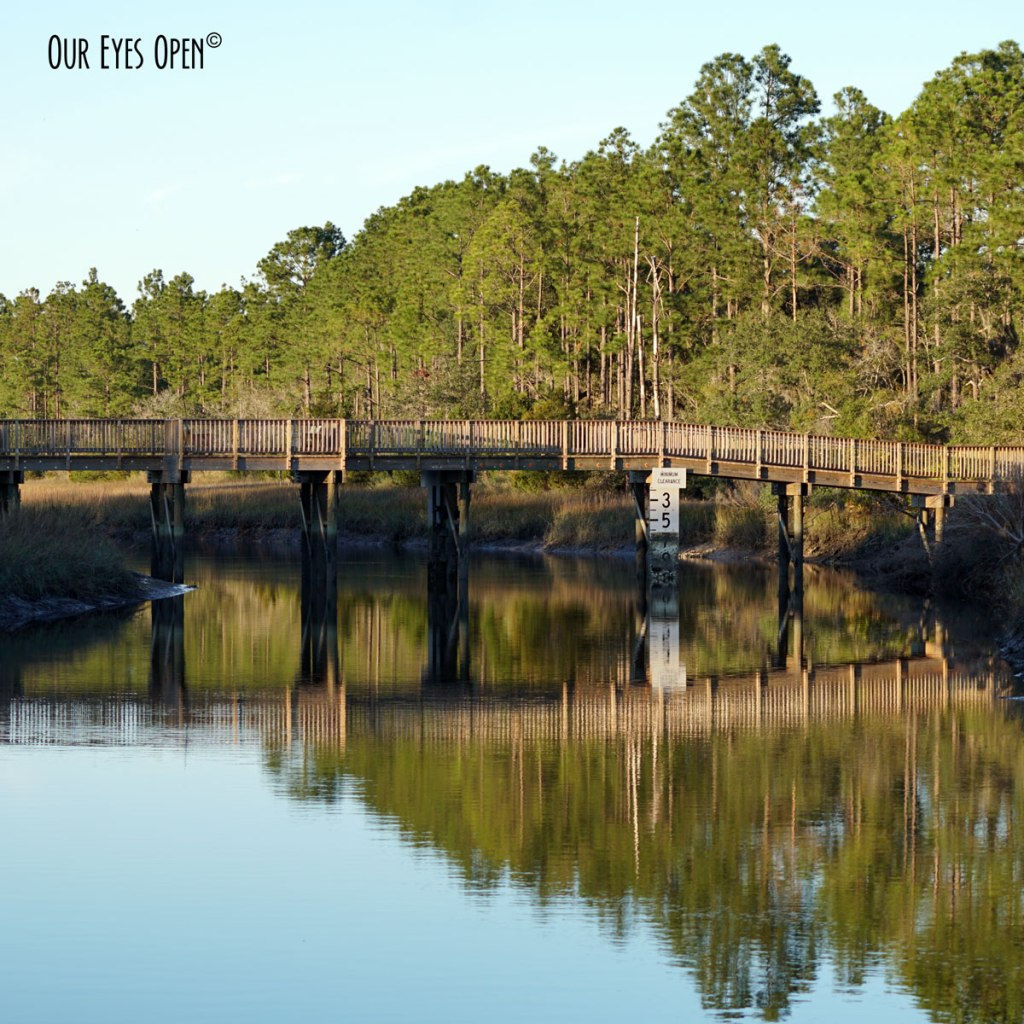 Beautiful reflection of the trail bridge at Cedar Point - Park in the Timucuan run by the National Park Service.