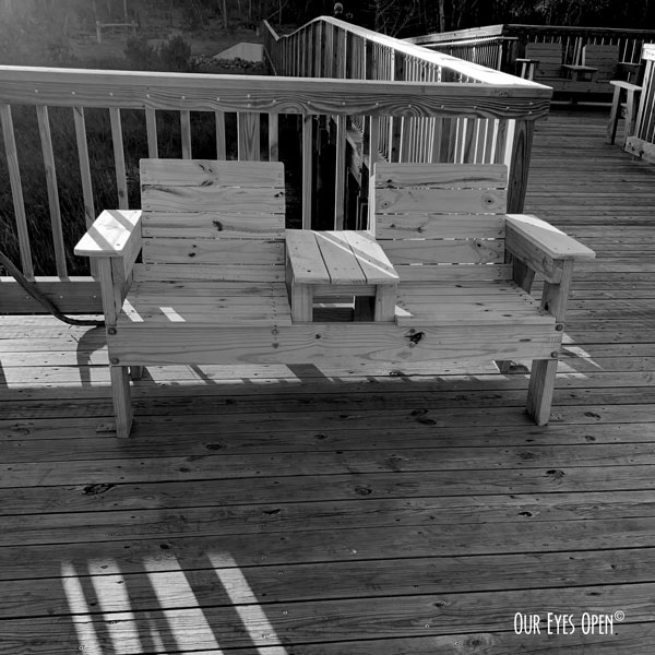 Wooden seats attached to the new wooden trail bridge at Cedar Point, Jacksonville, Florida.