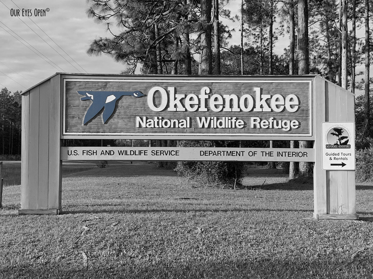Entrance sign to the Okefenokee Wildlife Refuge area in Georgia.