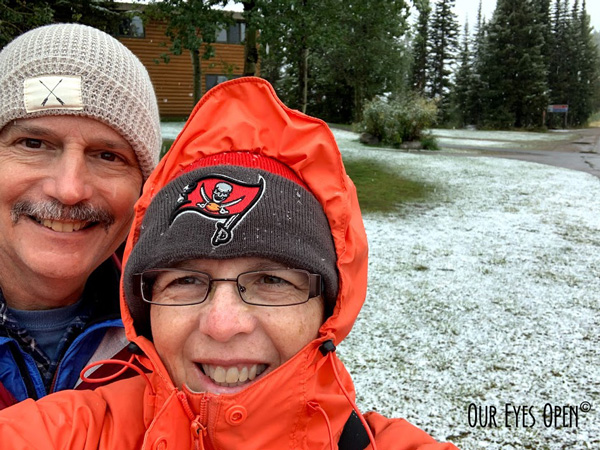 It was snowing at the top of Mount Targhee in Idaho.  This selfie of Frank & me was taken in September, 2019. Grand Targhee is located on the backside of Grand Teton mountain range.