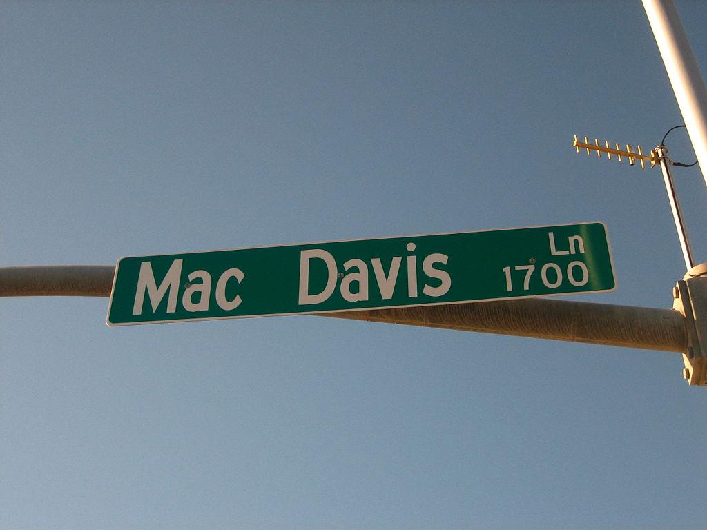 Street sign Mac Davis Lane in Lubbock, Texas.