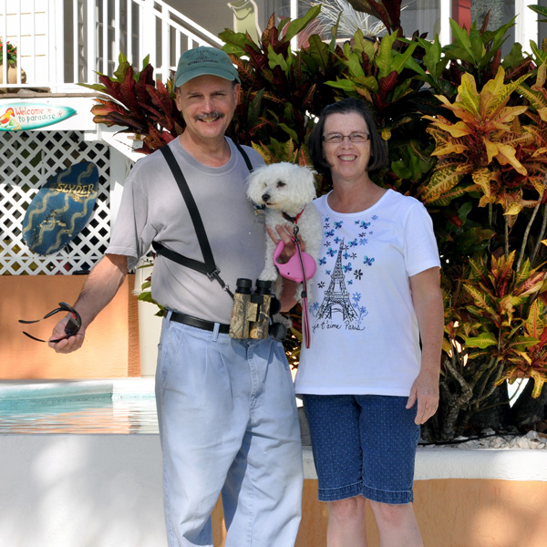 Frank & me with our Bichon Frise, Heaven in Melbourne, Florida for Thanksgiving a few years ago.
