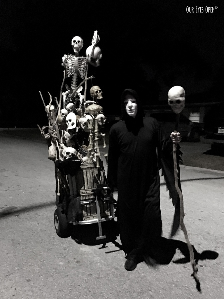 The Ghoul and his bone cart roaming the streets on Halloween.