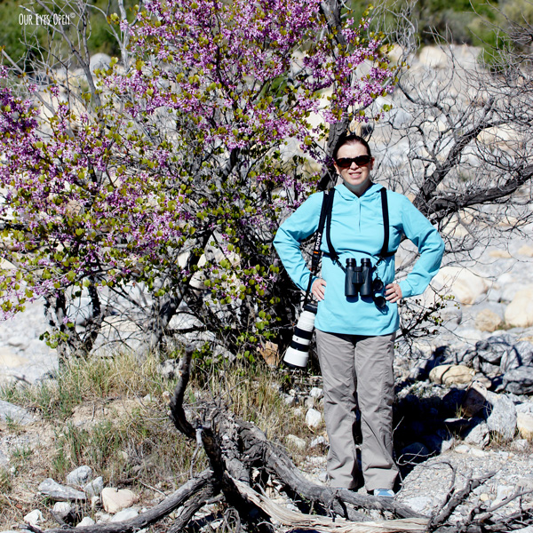 Lisa Coleman with binoculars strapped in & camera at the ready standing in front of a tree at Red Rock Canyon outside of Las Vegas, Nevada.
