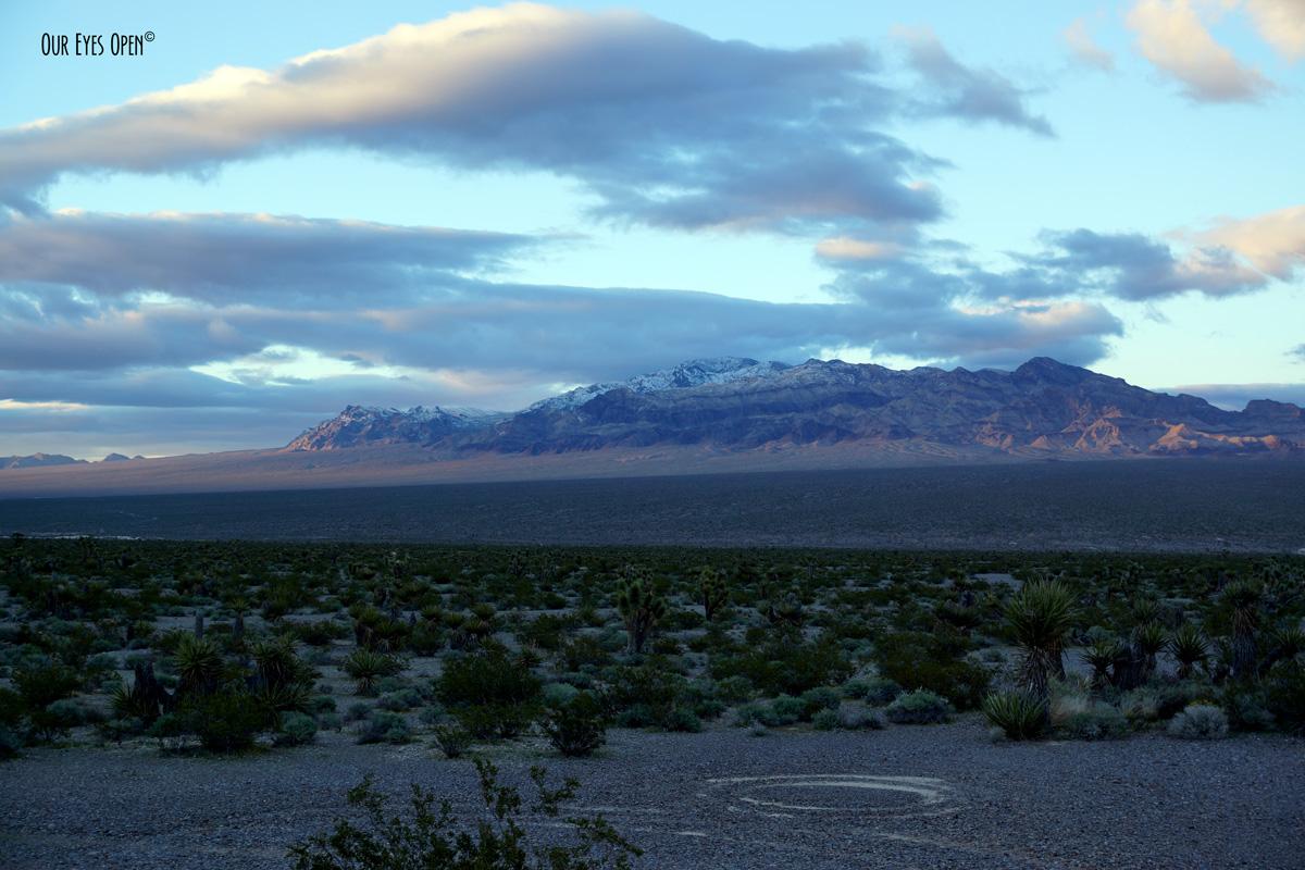 Nevada Desert outside Las Vegas at sunset.