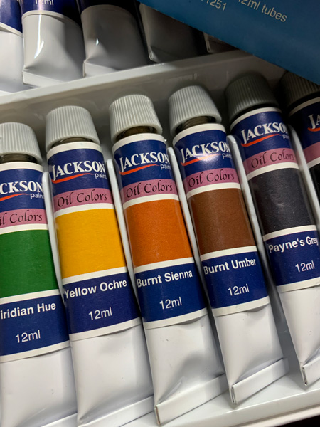 Oil paint colors highlighting Yellow Ochre, Burnt Sienna & Burnt Umber.  All fall colors.