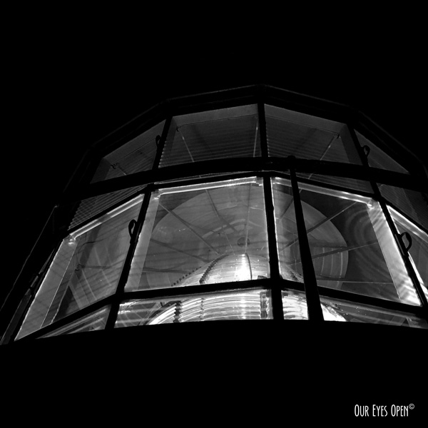 Top of the St. Augustine Lighthouse at night with the lanturn in full view.
