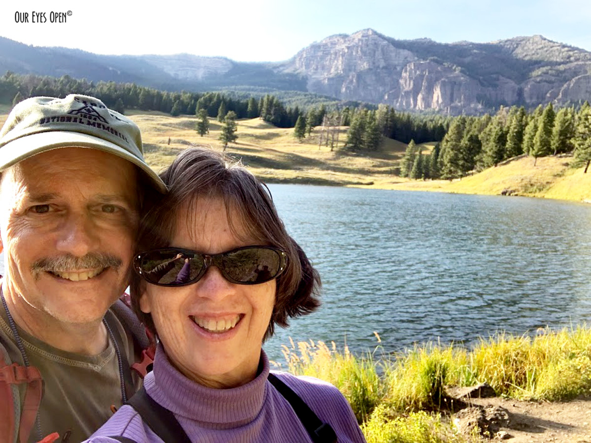 Frank & I taking a selfie with Trout Lake as our backdrop.