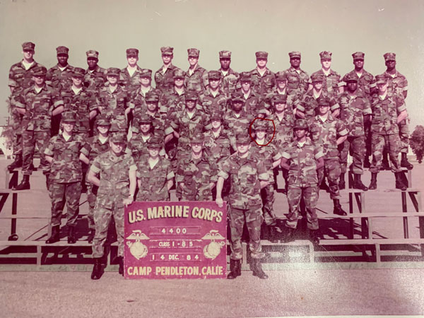 Platoon photo of the Legal School graduates on 14 December 1984. I am on the second row from the bottom, next to the last Marine.