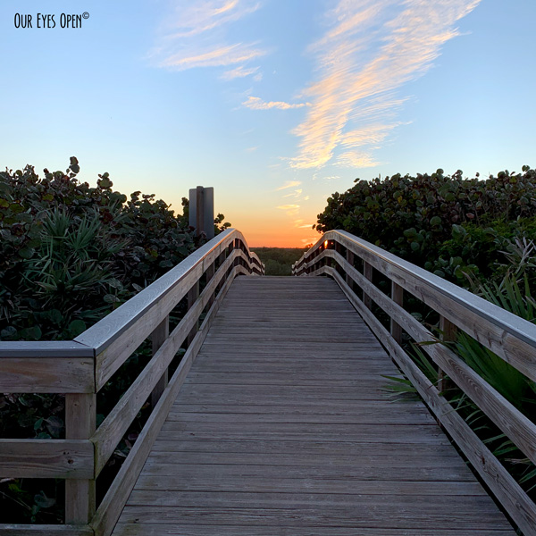 Boardwalk at the #2 parking area at Canaveral National Seashore near Cape Canaveral Space Center.