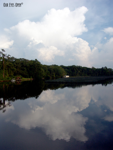 Clouds reflecting off the water of Little Pottsburg Creek in Jacksonville, Florida.