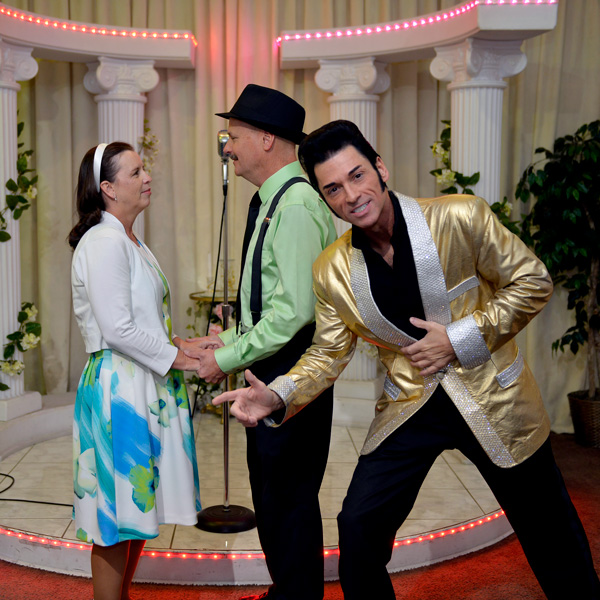 Frank and me with our Elvis impersonator during our wedding ceremony in Las Vegas, Nevada.