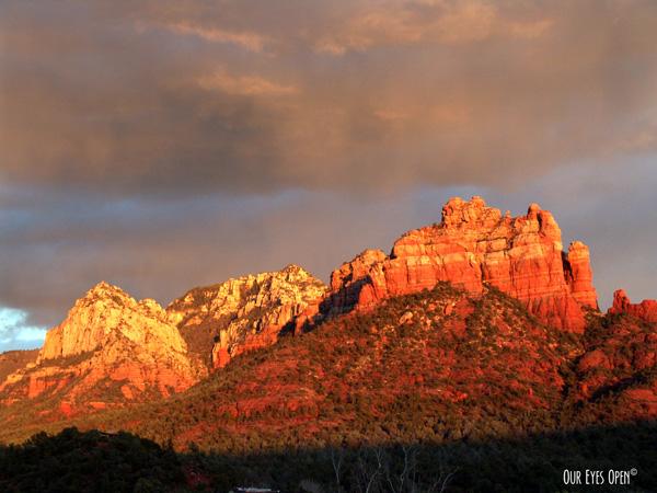 Shot of some red rocks in Sedona, Arizona nearing sunset.