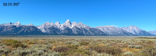 Landscape of the Grand Teton Mountain Range taken from the historic Mormon Row District.