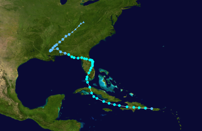 Plotted course of Tropical Storm Fay (2008).