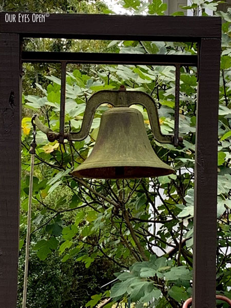 Old dinner bell at the large white house in Georgia.