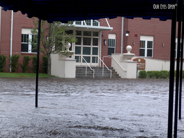Flooding at St. Vincent's Hospital in Jacksonville, Florida during Tropical Storm Fay in 2008.