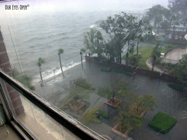 Water pours over as it is still raining during Tropical Storm Fay in 2008.
