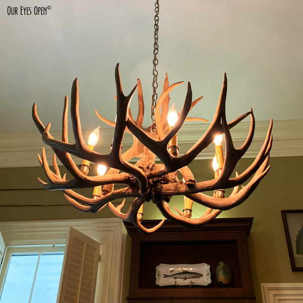 Chandelier made of deer antlers in a family home in Cedartown, Georgia.