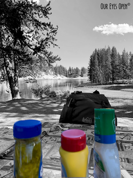 Selective color photo with the condiments in color and the Yellowstone River in black and white in the background in Yellowstone National Park.