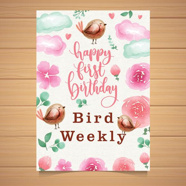 Happy 1st Birthday Bird Weekly card.